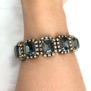 J. Crew grey crystal & pave trim elastic bracelet